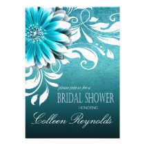 Gerbera Daisy Scroll Bridal Shower teal Personalized Invite