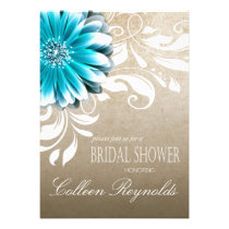 Gerbera Daisy Scroll Bridal Shower teal Personalized Announcement