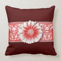 Gerbera Daisy Scroll Burlap 1 red bandeau Throw Pillow