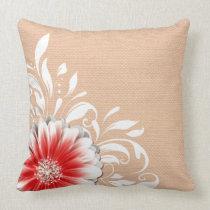 Gerbera Daisy Scroll Burlap 1 red bandeau Pillows
