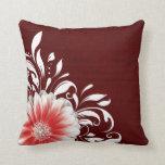 Gerbera Daisy Scroll Burlap 1 red corner Pillows