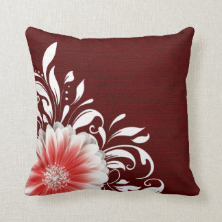 Gerbera Daisy Scroll Burlap 1 red corner Throw Pillow