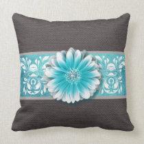 Gerbera Daisy Scroll Burlap 1 teal bandeau Pillows