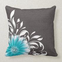 Gerbera Daisy Scroll Burlap 1 teal charcoal Pillows