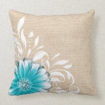 Gerbera Daisy Scroll Burlap 1 teal oatmeal Pillows