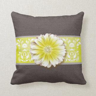 Gerbera Daisy Scroll Burlap 1 yellow bandeau Throw Pillow