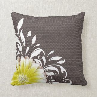 Gerbera Daisy Scroll Burlap 1 yellow charcoal Throw Pillow
