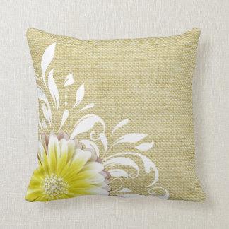 Gerbera Daisy Scroll Burlap 1 yellow taupe Throw Pillow