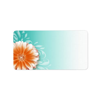 Gerbera Daisy Scroll | orange aqua Mailing Label