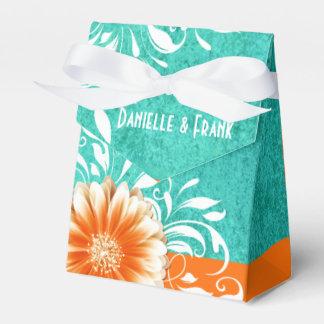 Gerbera Daisy Scroll | orange turquoise Favor Boxes