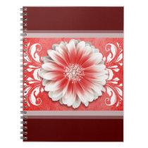 Gerbera Daisy Scroll Planner red burgundy Notebooks
