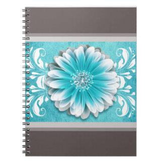 Gerbera Daisy Scroll Planner teal chalkboard Notebook