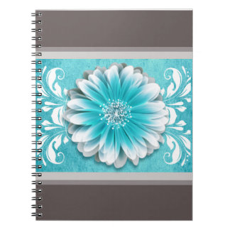 Gerbera Daisy Scroll Planner teal chalkboard Spiral Notebook