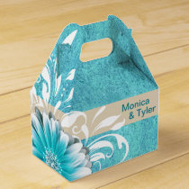 Gerbera Daisy Scroll | teal oatmeal Favor Box