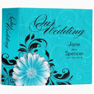 Gerbera Daisy Scroll Wedding Album blue black 3 Ring Binder