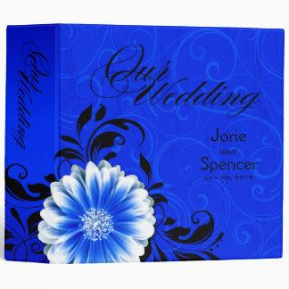 Gerbera Daisy Scroll Wedding Album cobalt black 3 Ring Binder