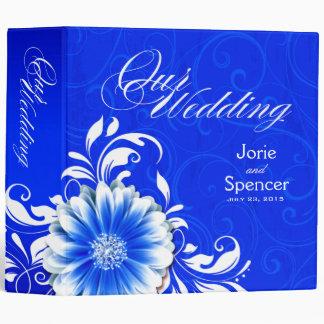 Gerbera Daisy Scroll Wedding Album cobalt white Binder