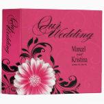 Gerbera Daisy Scroll Wedding Album fuchsia black Vinyl Binder