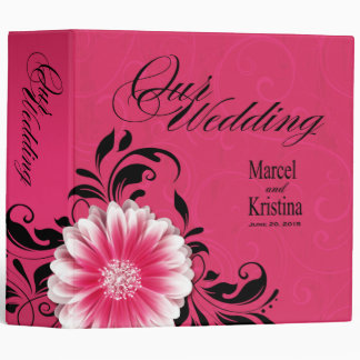 Gerbera Daisy Scroll Wedding Album fuchsia black Binder