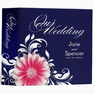 Gerbera Daisy Scroll Wedding Album navy fuchsia Binder