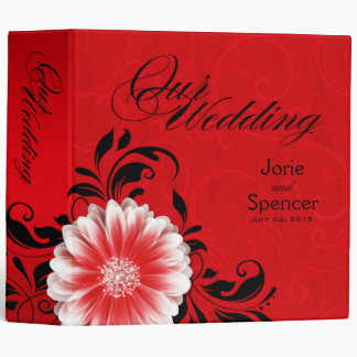 Gerbera Daisy Scroll Wedding Album red black Binder