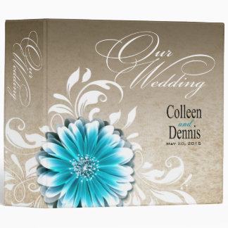 Gerbera Daisy Scroll Wedding Album teal 3 Ring Binder
