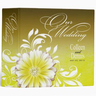 Gerbera Daisy Scroll Wedding Album yellow Binder