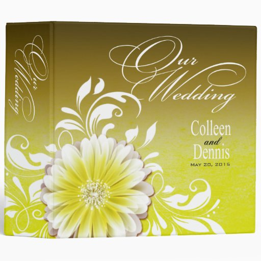 Gerbera Daisy Scroll Wedding Album yellow 3 Ring Binders