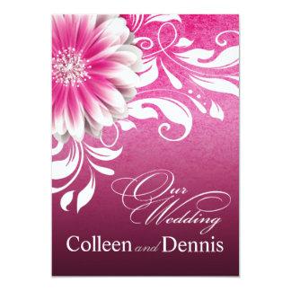Gerbera Daisy Scroll Wedding fuschia Card