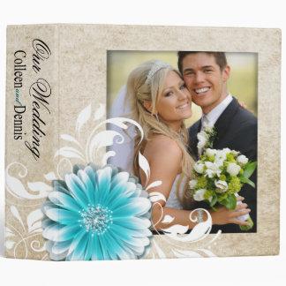 Gerbera Daisy Scroll Wedding Photo Album teal 3 Ring Binder