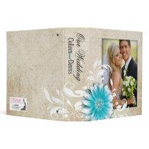 Gerbera Daisy Scroll Wedding Photo Album teal Vinyl Binders
