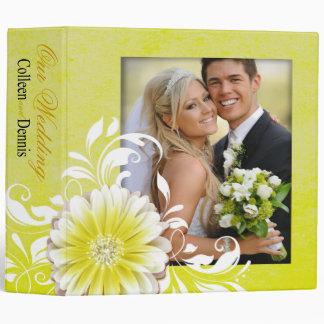 Gerbera Daisy Scroll Wedding Photo Album yellow 3 Ring Binder