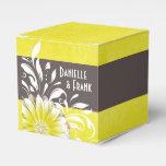 Gerbera Daisy Scroll   yellow chalkboard Wedding Favor Boxes