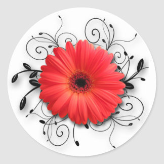 Gerbera Daisy Theme Round Sticker