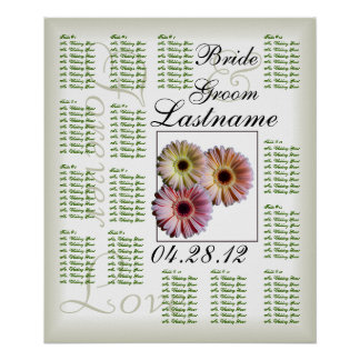 Gerbera Daisy Trio Wedding Guest Seating Chart Poster