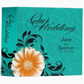 Gerbera Daisy Wedding Album orange turquoise Binder