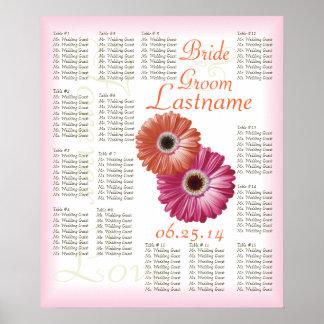 Gerbera Daisy Wedding Guest Seating Chart Poster