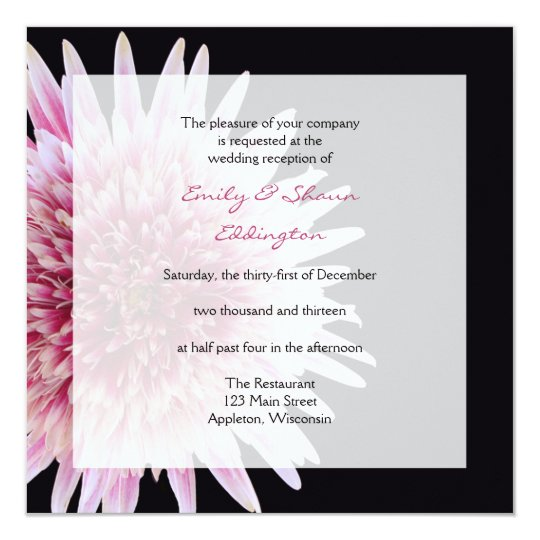 Gerbera Daisy Wedding Reception Only Invitation