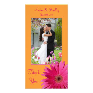 Gerbera Daisy Wedding Thank You Photocard Card