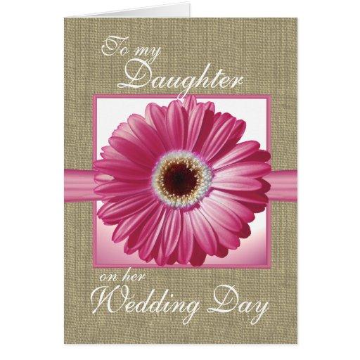 Gerbera del rosa del día de boda de la hija tarjetas