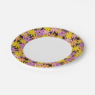 Gerbera flowers pattern, background 7 inch paper plate