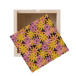Gerbera flowers pattern, background wooden keepsake box