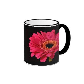 Gerbera in pink ringer coffee mug