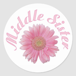 Gerbera Middle Sister Classic Round Sticker