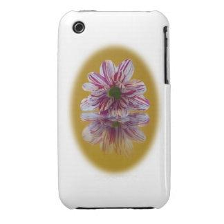 Gerbera rayado del rosa y blanco de la margarita iPhone 3 carcasa
