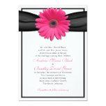 Gerbera rosado con la invitación negra de la cinta invitación 12,7 x 17,8 cm