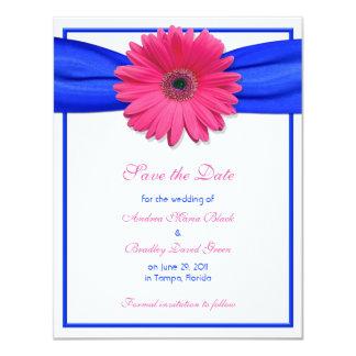 Gerbera rosado con la reserva de Blue Ribbon la Invitación 10,8 X 13,9 Cm