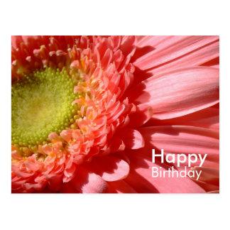 Gerbera rosado - feliz cumpleaños tarjeta postal