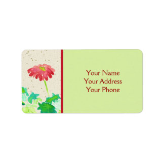 Gerbera Watercolor Painting Red Green Washi Paper Label