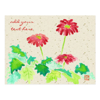 Gerbera Watercolor Painting Red Green Washi Paper Postcard